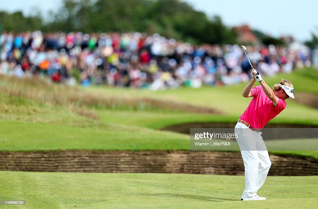 Brandt Snedeker of the United States hits his second shot on the third hole during the third round of the 141st Open Championship at Royal Lytham & St. Annes Golf Club on July 21, 2012 in Lytham St Annes, England.