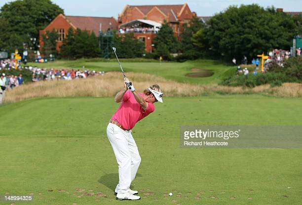 Brandt Snedeker of the United States hits his tee shot on the ninth hole during the third round of the 141st Open Championship at Royal Lytham St...