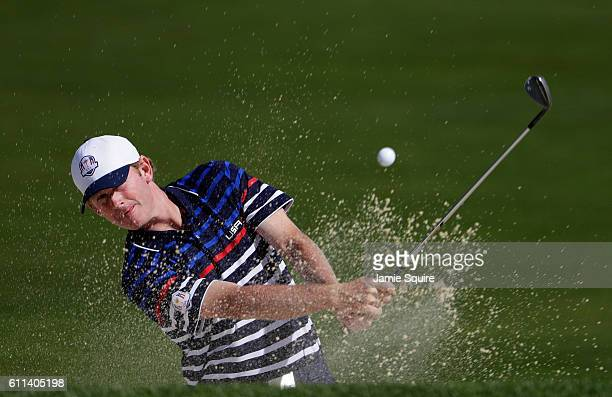Brandt Snedeker of the United States hits out of a bunker during practice prior to the 2016 Ryder Cup at Hazeltine National Golf Club on September...