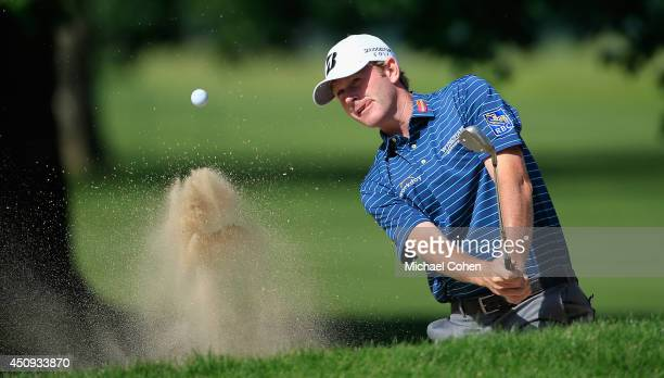 Brandt Snedeker of the United States hits out of the sand trap on the fifth hole during the second round of the Travelers Championship golf...