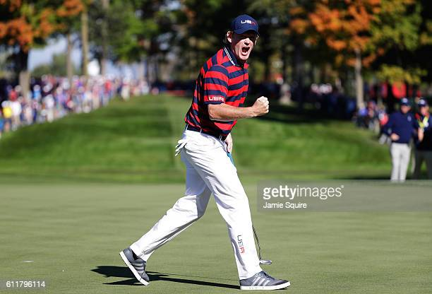 Brandt Snedeker of the United States reacts to a putt on the 13th green during morning foursome matches of the 2016 Ryder Cup at Hazeltine National...