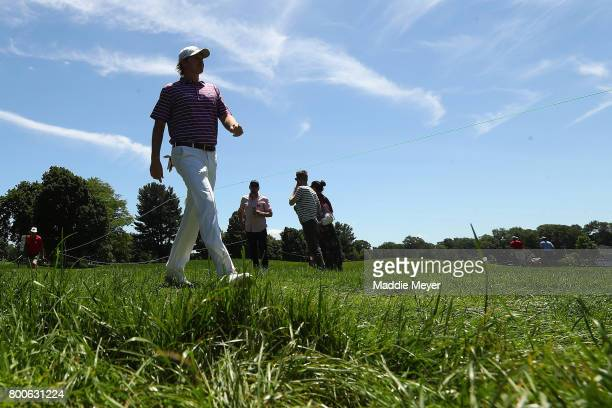 Brandt Snedeker of the United States walks to the eighth tee during the third round of the Travelers Championship at TPC River Highlands on June 24...