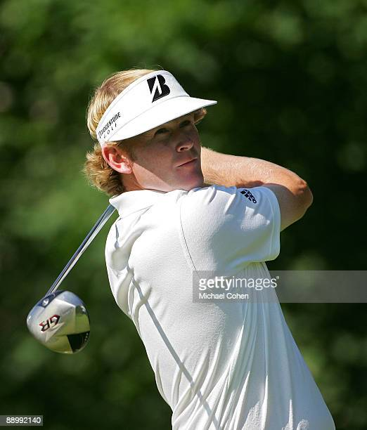 Brandt Snedeker of the USA hits his drive on the 15th hole during the final round of the John Deere Classic at TPC Deere Run held on July 12 2009 in...