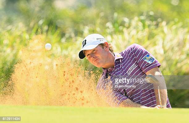 Brandt Snedeker of the USA plays out of the bunker during day one of the Fiji International at Natadola Bay Golf Course on October 6 2016 in Natadola...