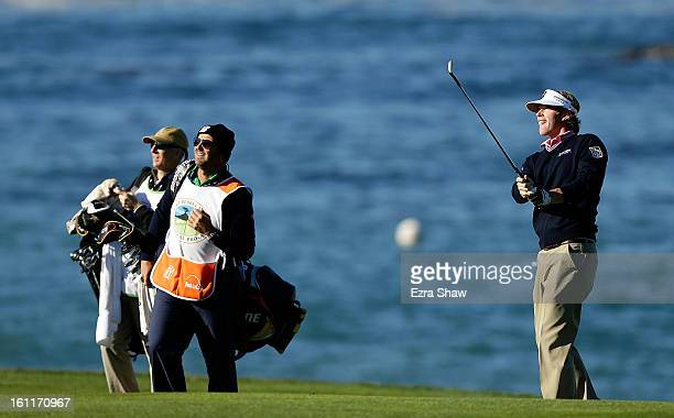 Brandt Snedeker plays a pitch shot on the fourth hole during the third round of the ATT Pebble Beach National ProAm at Pebble Beach Golf Links on...
