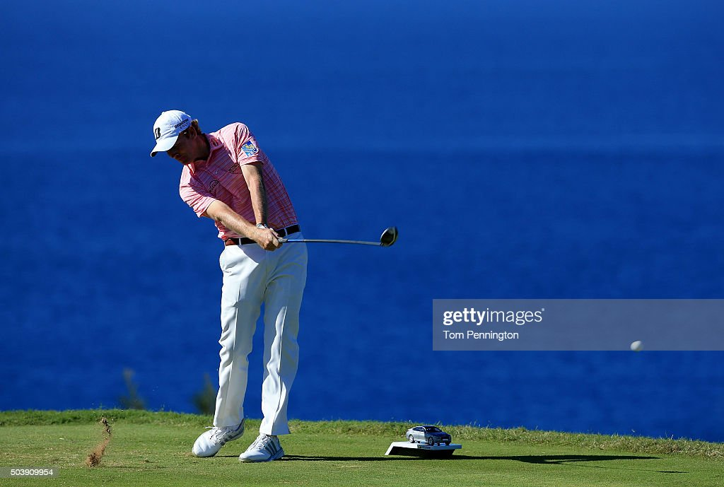 Brandt Snedeker plays his shot from the 13th tee during round one of the Hyundai Tournament of Champions at the Plantation Course at Kapalua Golf Club on January 7, 2016 in Lahaina, Hawaii.
