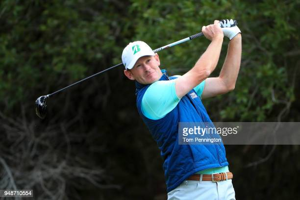 Brandt Snedeker plays his shot from the 14th tee during the first round of the Valero Texas Open at TPC San Antonio ATT Oaks Course on April 19 2018...