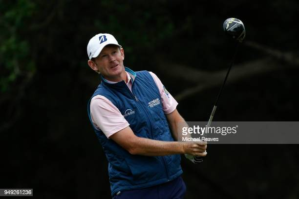 Brandt Snedeker plays his shot from the 14th tee during the second round of the Valero Texas Open at TPC San Antonio ATT Oaks Course on April 19 2018...