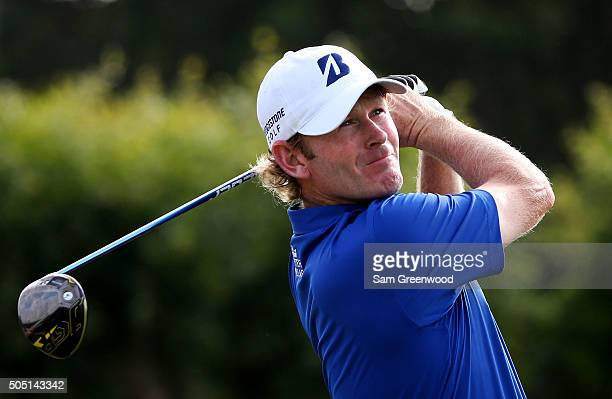 Brandt Snedeker plays his shot from the 16th tee during the second round of the Sony Open In Hawaii at Waialae Country Club on January 15 2016 in...
