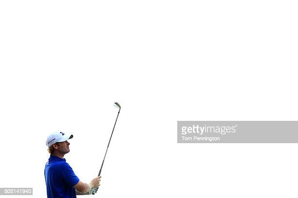 Brandt Snedeker plays his shot from the 17th tee during the second round of the Sony Open In Hawaii at Waialae Country Club on January 15 2016 in...