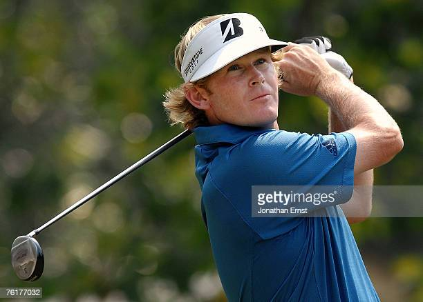 Brandt Snedeker plays his shot from the 18th tee during the final round of the Wyndham Championship at Forest Oaks Country Club on August 19, 2007 in...