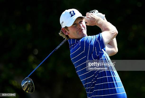 Brandt Snedeker plays his shot from the first tee during the final round of the Sony Open In Hawaii at Waialae Country Club on January 17 2016 in...