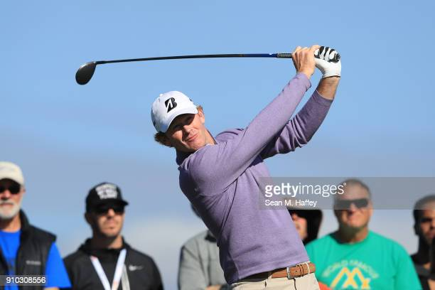 Brandt Snedeker plays his shot from the second tee during the first round of the Farmers Insurance Open at Torrey Pines South on January 25 2018 in...