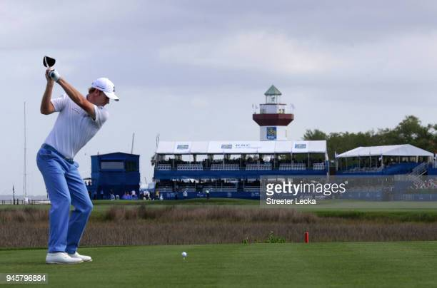 Brandt Snedeker plays his tee shot on the 18th hole during the second round of the 2018 RBC Heritage at Harbour Town Golf Links on April 13, 2018 in...