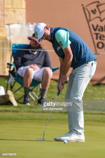 Brandt Snedeker putts during the first round of the Valero Texas Open at the TPC San Antonio Oaks Course in San Antonio TX on April 19 2018