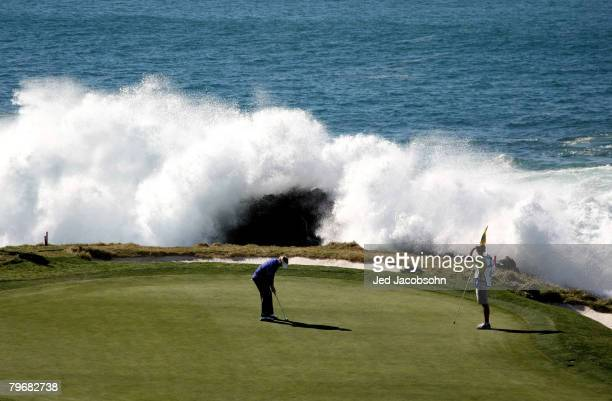 Brandt Snedeker putts on the seventh hole during the third round of the ATT Pebble Beach National ProAm at Pebble Beach Golf Links February 9 2008 in...