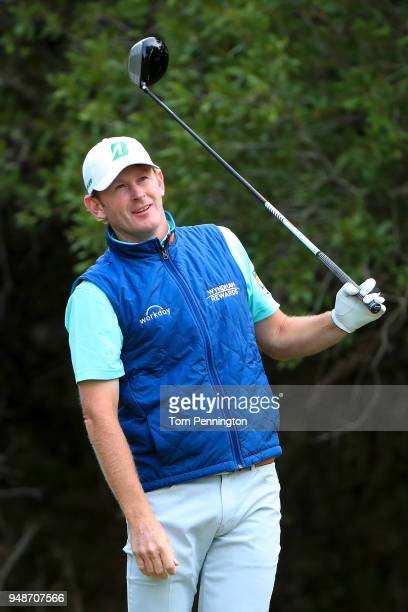 Brandt Snedeker reacts after playing his shot from the 14th tee during the first round of the Valero Texas Open at TPC San Antonio ATT Oaks Course on...