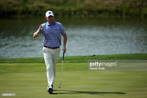 Brandt Snedeker reacts after putting during the First Round of the BMW Championship at Conway Farms Golf Club on September 17 2015 in Lake Forest...