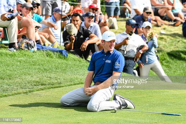 Brandt Snedeker reacts and drops to the ground after missing an eagle putt during the final round of THE NORTHERN TRUST the first event of the...