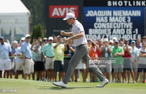 Brandt Snedeker reacts following a birdie putt on the ninth green during the first round of the Wyndham Championship at Sedgefield Country Club on...