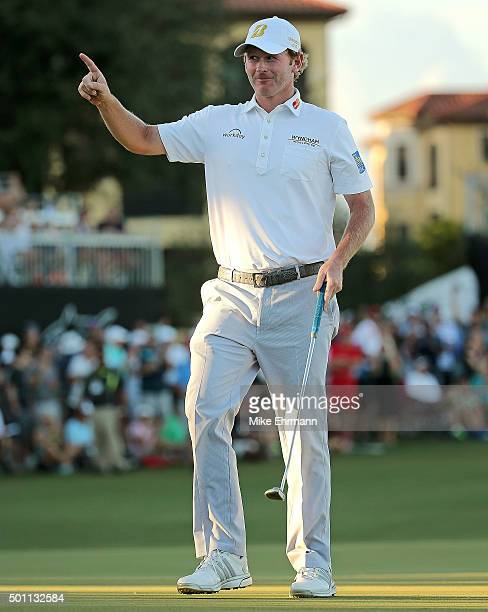 Brandt Snedeker reacts to a birdie putt on the 18th hole during the final round of the Franklin Templeton Shootout at Tiburon Golf Club on December...