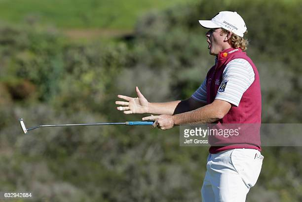 Brandt Snedeker reacts to a missed birdie putt on the 16th hole during the third round of the Farmers Insurance Open at Torrey Pines South on January...