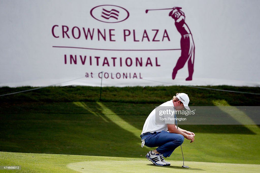 Brandt Snedeker reacts to a shot on the 13th green during the final round of the Crowne Plaza Invitational at the Colonial Country Club on May 24, 2015 in Fort Worth, Texas.