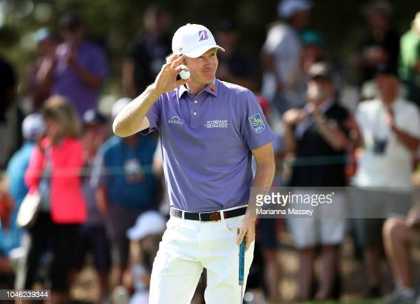 Brandt Snedeker reacts to his putt on the 11th green during the second round of the Safeway Open at the North Course of the Silverado Resort and Spa...