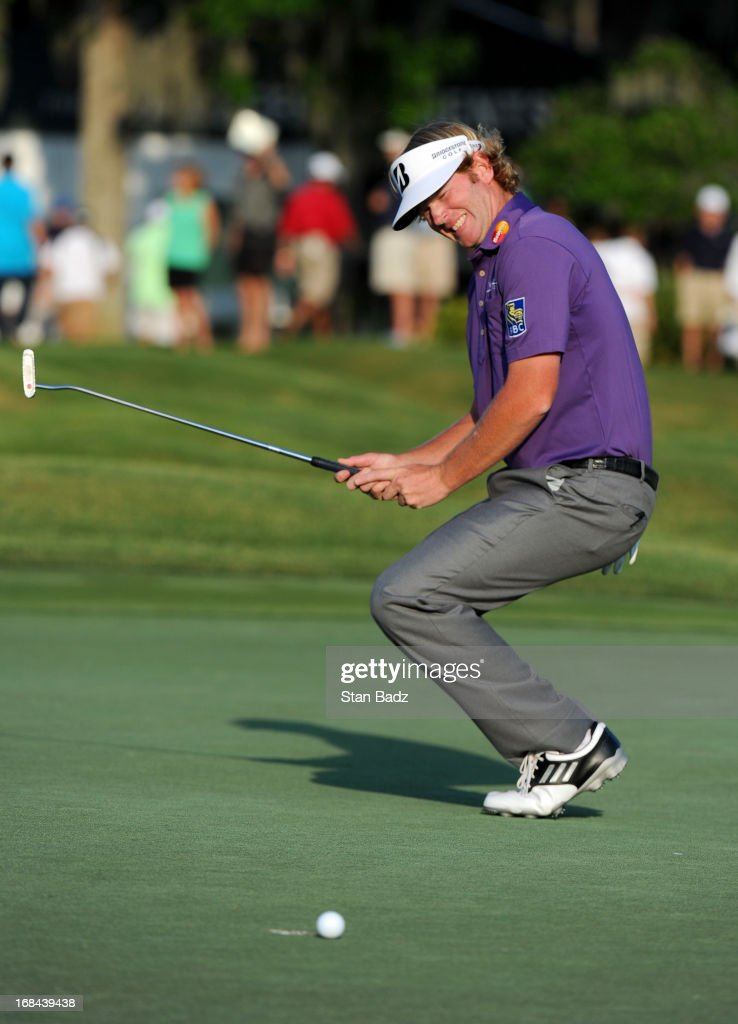 Brandt Snedeker reacts to his putt on the 18th hole during the first round of THE PLAYERS Championship on THE PLAYERS Stadium Course at TPC Sawgrass on May 9, 2013 in Ponte Vedra Beach, Florida.
