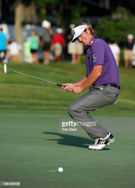 Brandt Snedeker reacts to his putt on the 18th hole during the first round of THE PLAYERS Championship on THE PLAYERS Stadium Course at TPC Sawgrass...