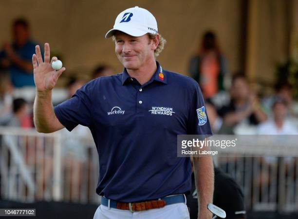 Brandt Snedeker reacts to his putt on the 18th hole during the third round of the Safeway Open at the North Course of the Silverado Resort and Spaon...
