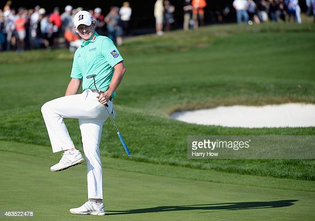 Brandt Snedeker reacts to missing a birdie putt on the 17th green during the final round of the ATT Pebble Beach National ProAm at the Pebble Beach...