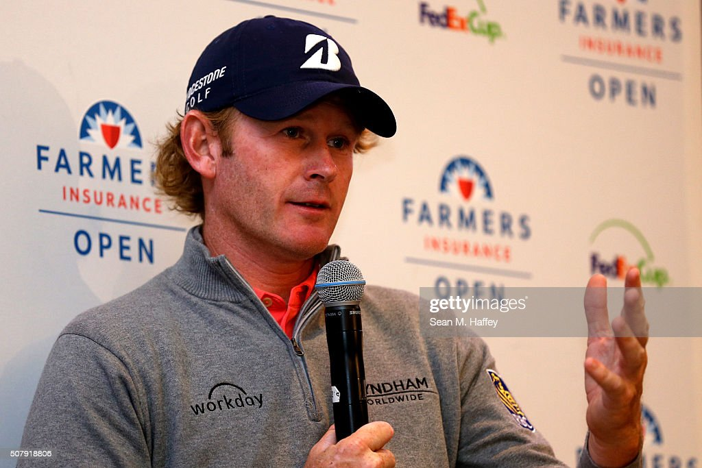 Brandt Snedeker speaks to the media after winning the Farmers Insurance Open at Torrey Pines South on February 1, 2016 in San Diego, California. Play was suspended due to inclement weather on Sunday.