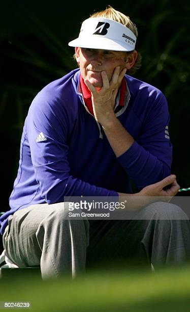 Brandt Snedeker waits on the 3rd hole during the third round of the PODS Championship at Innisbrook Resort and Golf Club on March 8, 2008 in Palm...