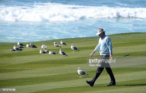 Brandt Snedeker walks down the tenth fairway during the final round of the ATT Pebble Beach National ProAm at Pebble Beach Golf Links on February 10...