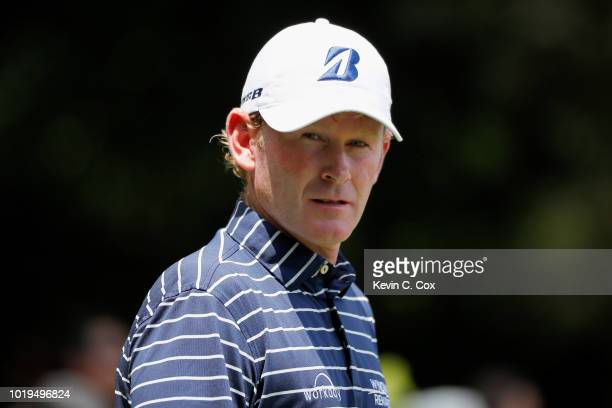 Brandt Snedeker walks off the second tee during the final round of the Wyndham Championship at Sedgefield Country Club on August 19, 2018 in...