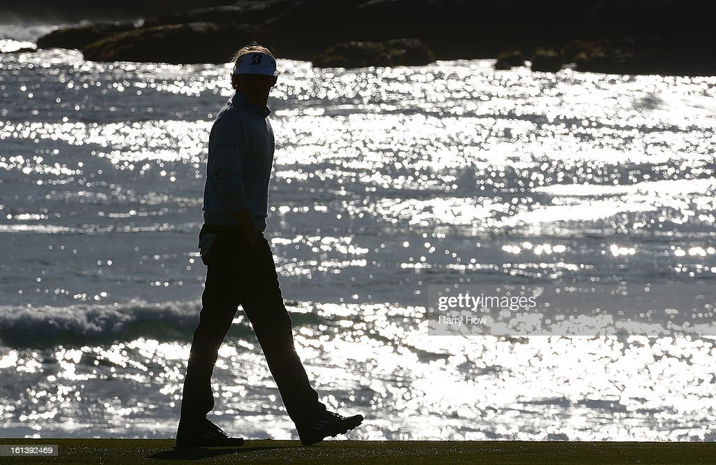 Brandt Snedeker walks on the 18th hole during the final round of the AT&T Pebble Beach National Pro-Am at Pebble Beach Golf Links on February 10, 2013 in Pebble Beach, California.