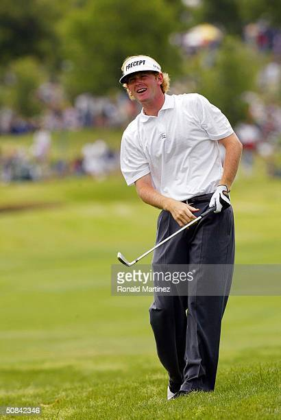 Brandt Snedeker watches his approach shot on the 3rd hole during the third round of the EDS Byron Nelson Championship on May 15, 2004 at the TPC Las...