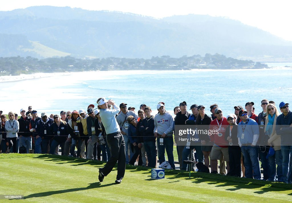 Brandt Snedeker watches his tee shot on the 14th hole during the final round of the AT&T Pebble Beach National Pro-Am at Pebble Beach Golf Links on February 10, 2013 in Pebble Beach, California.