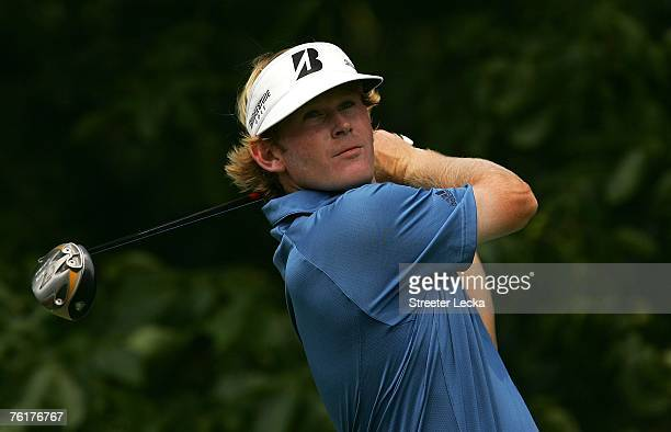 Brandt Snedeker watches his tee shot on the 16th hole during the final round of the Wyndham Championship at Forest Oaks Country Club on August 19,...