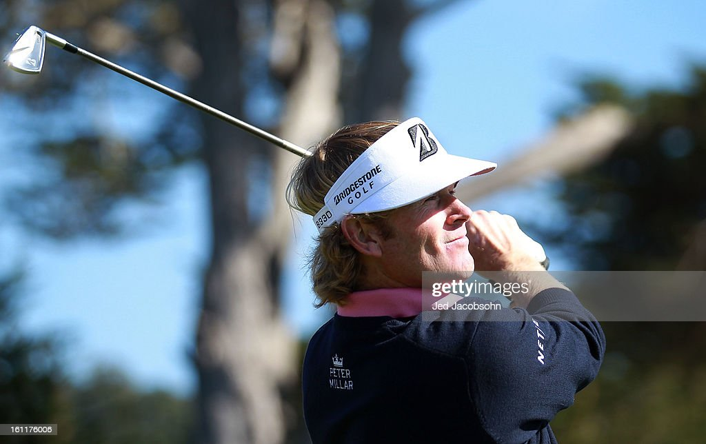Brandt Snedeker watches his tee shot on the 17th hole during the third round of the AT&T Pebble Beach National Pro-Am at Pebble Beach Golf Links on February 9, 2013 in Pebble Beach, California.