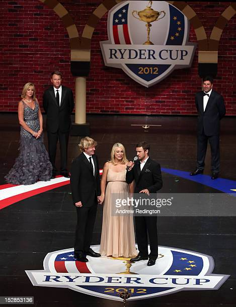 Brandt Snedeker with his wife Mandy Snedeker talk with Justin Timberlake at the 39th Ryder Cup Gala at Akoo Theatre at Rosemont on September 26 2012...