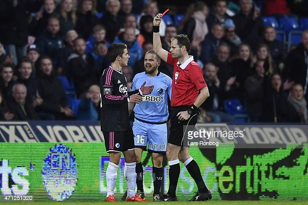 Brandur Olsen of FC Copenhagen receives a red card from Referee Michael Johansen during the Danish Alka Superliga match between Randers FC and FC...