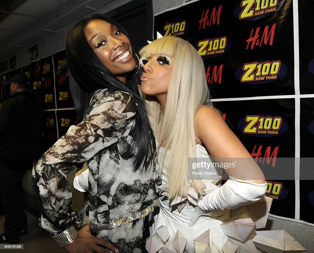 Brandy and Lady GaGa pose backstage during Z100's Jingle Ball 2008 Presented by H&M at Madison Square Garden on December 12, 2008 in New York City. *EXCLUSIVE*