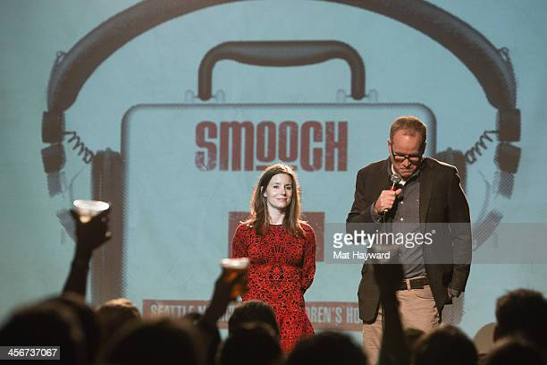 Brandy and Pete Nordstrom speak on stage during the Seattle Musicians for Childrens Hospital benefit at The Showbox Market on December 14 2013 in...