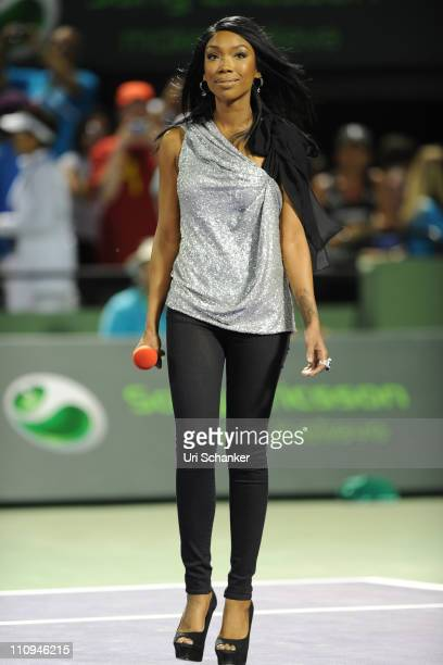 Brandy appears on court to perform during the Sony Ericsson Open at Crandon Park Tennis Center on March 26 2011 in Key Biscayne Florida
