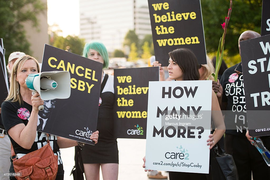 Brandy Betts gathers with protestors outside of Bill Cosby's 'Far from Finished' Tour at Cobb Energy Performing Arts Center on May 2, 2015 in Atlanta, Georgia.