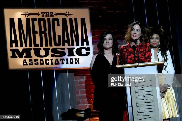 Brandy Clark Amanda Shires and Valerie June speak onstage during the 2017 Americana Music Association Honors Awards on September 13 2017 in Nashville...