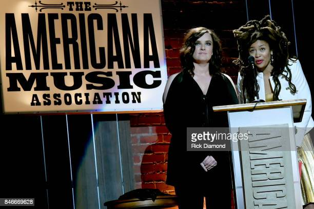 Brandy Clark and Valerie June speak onstage during the 2017 Americana Music Association Honors Awards on September 13 2017 in Nashville Tennessee