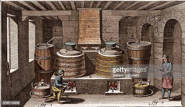 Brandy distillery engraving from La Grande Encyclopedie ou Dictionnaire Raisonne des Sciences des Arts et des Metiers by Denis Diderot and Jean...